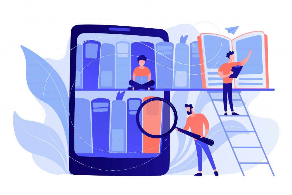 Tablet with bookshelves and students searching and reading information. Digital learning, online database, content storing and searching, ebooks concept. Vector isolated illustration.